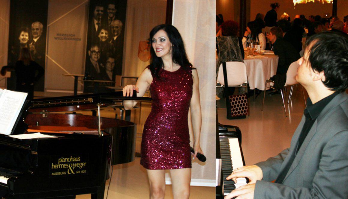Sängerin und Pianist am Piano in München